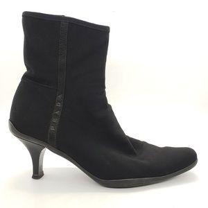 Prada black stretch booties - vintage trendy SZ 8